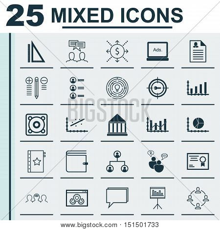 Set Of 25 Universal Icons On Job Applicants, Raise Diagram, Coaching And More Topics. Vector Icon Se