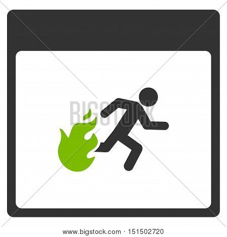 Fire Evacuation Man Calendar Page vector icon. Style is flat graphic bicolor symbol, eco green and gray colors, white background.