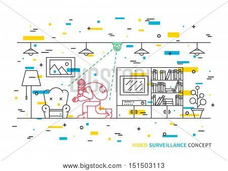 Thief robber in apartment vector illustration. Video camera surveillance line art concept. Video camera control and security graphic design. Video monitoring to avoid robbery theft.