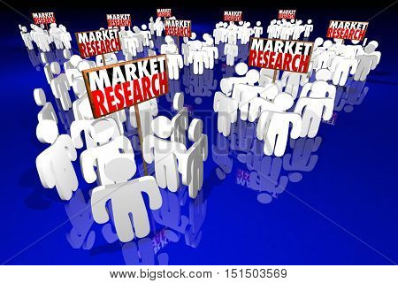 Market Research Study Survey Customers Demographics People Signs 3d Illustration