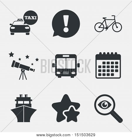 Transport icons. Taxi car, Bicycle, Public bus and Ship signs. Shipping delivery symbol. Speech bubble sign. Attention, investigate and stars icons. Telescope and calendar signs. Vector