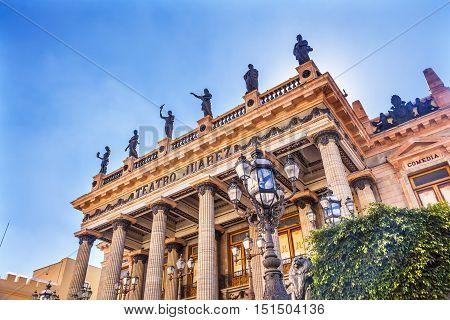 GUANAJUATO, MEXICO - DECEMBER 30, 2014 Juarez Theater Opera House Statues Guanajuato Mexico