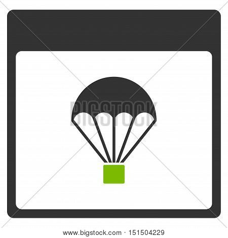 Parachute Calendar Page vector pictogram. Style is flat graphic bicolor symbol, eco green and gray colors, white background.
