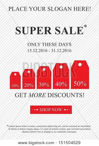Vector promotional Super Sale banner for online stores websites retail posters social media ads. Creative banner layout for m-commerce sale materials coupons advertising.