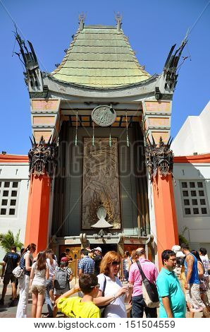 LOS ANGELES - AUG. 28, 2011: Graumans Chinese Theatre (TCL Chinese Theatre), also known as Manns Chinese Theatre, is a movie theater at 6925 Hollywood Boulevard in Hollywood. It is on the historic Hollywood Walk of Fame, Los Angeles, California, USA.
