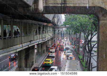Bangkok Thailand- October 92016 :skywalk and heavy traffic at Siam Square. Bangkok Thailand