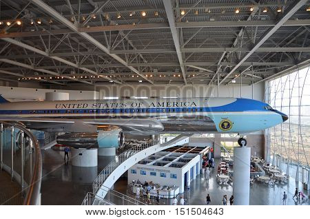 SIMI VALLEY, CA, USA - AUG 26, 2011: Air Force One Boeing 707, Ronald Reagan Presidential Memorials, Simi Valley, California, USA.