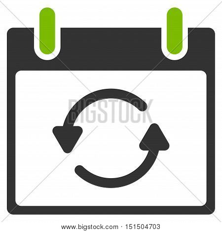 Refresh Calendar Day vector pictogram. Style is flat graphic bicolor symbol, eco green and gray colors, white background.