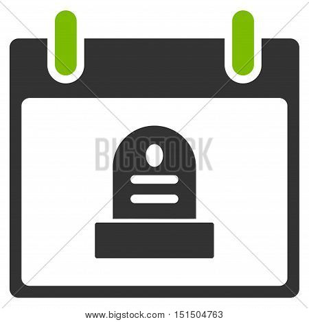 Rip Monument Calendar Day vector pictograph. Style is flat graphic bicolor symbol, eco green and gray colors, white background.