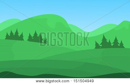Hill beautiful scenery vector flat illuctration collection