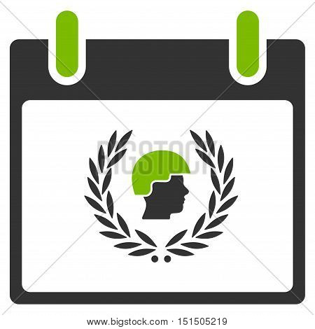 Soldier Laurel Wreath Calendar Day vector pictogram. Style is flat graphic bicolor symbol, eco green and gray colors, white background.