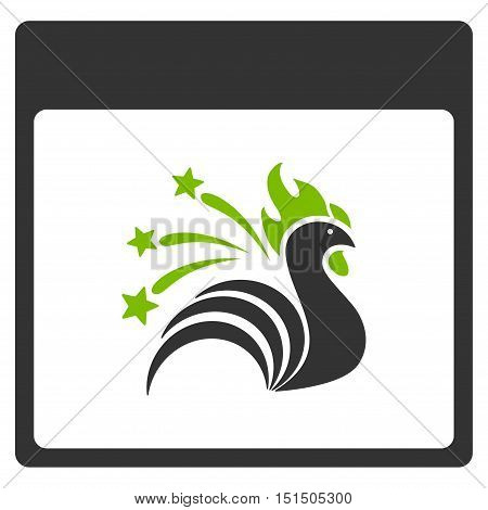 Sparkle Rooster Calendar Page vector pictograph. Style is flat graphic bicolor symbol, eco green and gray colors, white background.
