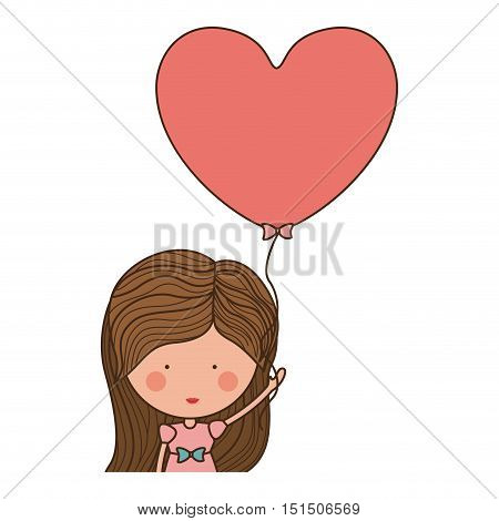 half body woman with heart shaped balloons vector illustration