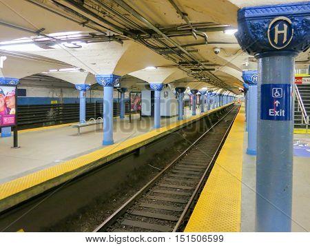 Hoboken New Jersey - August 22 2012: Hoboken Station in the New Jersey PATH subway between New Jersey and New York.