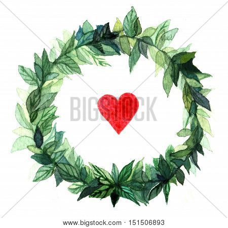 Watercolor wreath circle frame of spices with the green floral branches and red heart. Isolated on white background. Illustration for banner, greeting cards, website, poster.