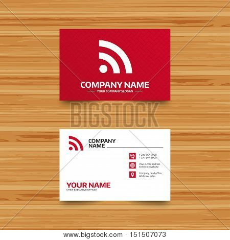 Business card template. RSS sign icon. RSS feed symbol. Phone, globe and pointer icons. Visiting card design. Vector