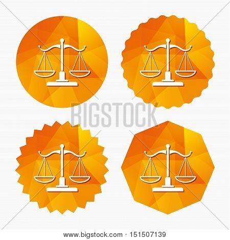 Scales of Justice sign icon. Court of law symbol. Triangular low poly buttons with flat icon. Vector