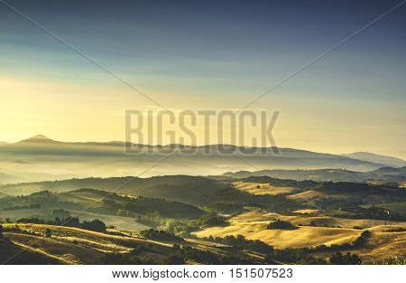 Tuscany Maremma foggy morning farmlands and green fields country landscape. Italy Europe.