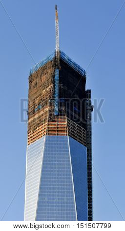 New York City - November 20, 2011: One World Trade Center (Freedom Tower) under construction in New York City.