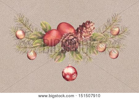Christmas Watercolor Garland. Holiday composition of the Christmas ornaments