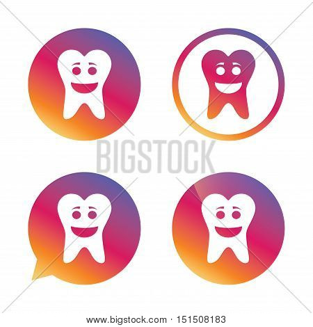 Tooth happy face sign icon. Dental care symbol. Healthy teeth. Gradient buttons with flat icon. Speech bubble sign. Vector