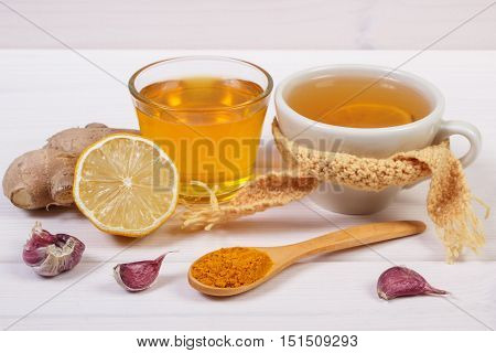 Cup Of Tea With Lemon And Ingredients For Preparation Warming Beverage