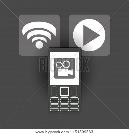 modern cellphone with wifi signal play video and film projector icon image vector illustration design