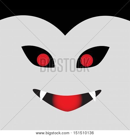 Vampire man with fangs Halloween Illustrated in square photo