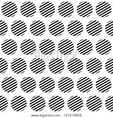 Seamless retro geometric pattern with polka dots