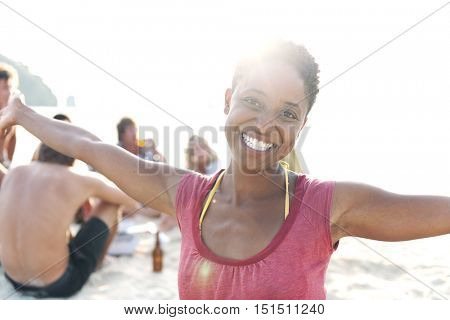 African Descent Woman Enjoying Beauty Bright Concept
