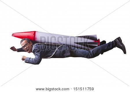 asian business man flying with rocket power isolated white background for speed and competition in leader ship concept