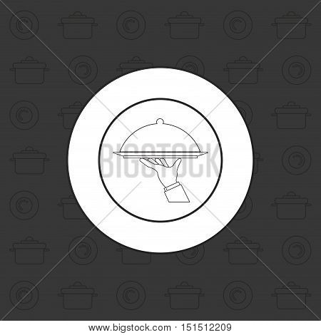 food platter with lid emblem image vector illustration design