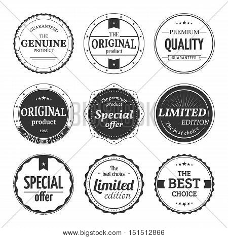 Vector set of retro badges and labels. Vintage classic design elements with title Genuine product, Premium quality, Best choice, Limited edition, Special offer, Original product. Isolated from a background.