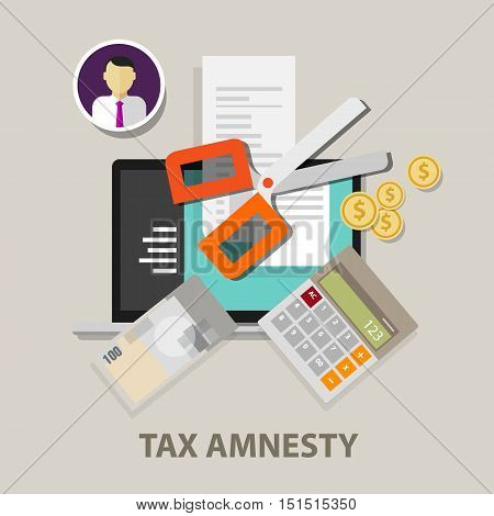 Tax amnesty, scissor illustration, government forgive taxation vector