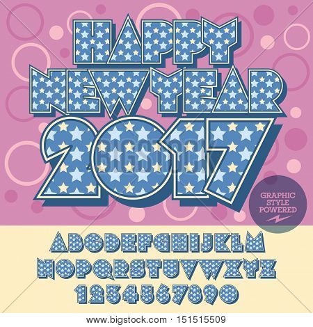 Vector cool Happy New Year 2017 greeting card with set of letters, symbols and numbers. File contains graphic styles