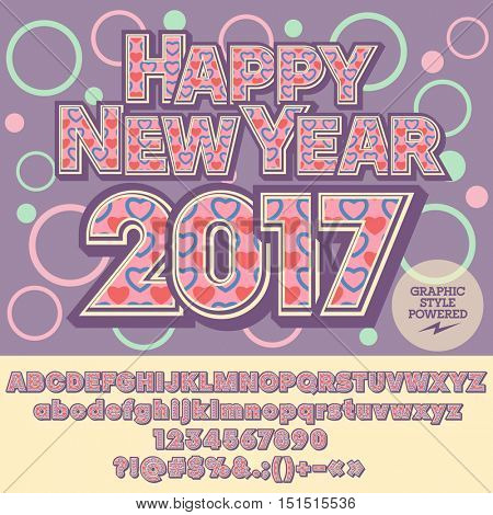 Vector  lovely Happy New Year 2017 greeting card with set of letters, symbols and numbers. File contains graphic styles