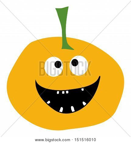 Smiling Pumpkin on a white background Halloween pumpkin icon Pumpkin icon vector Yellow Pumpkin Simple flat style design Pumpkin isolated Pumpkin vector icon