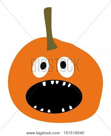 Halloween Pumpkin icon Pumpkin icon vector Orange Pumpkin Smiling Pumpkin on a white background Simple flat style design Pumpkin isolated Pumpkin vector icon