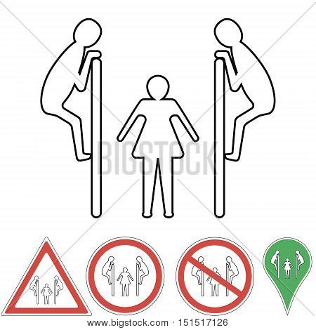 man spies on woman from behind partitions in the toilet, peeping pointer, warning sign peeping, peeping prohibition, vector for design or printing