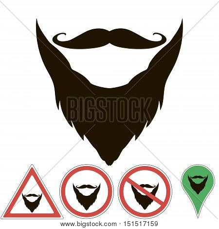 mustache and beard are sign, pointer, prohibition mustache and beard, for print or design