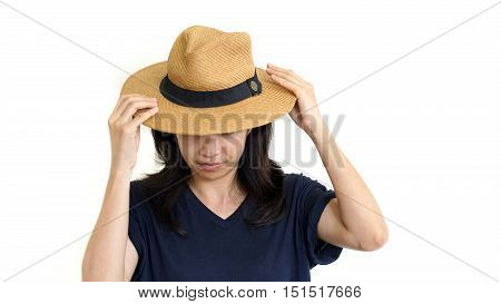 Casual South East Asian Girl Wearing Hat Hiding Her Upset Emotion