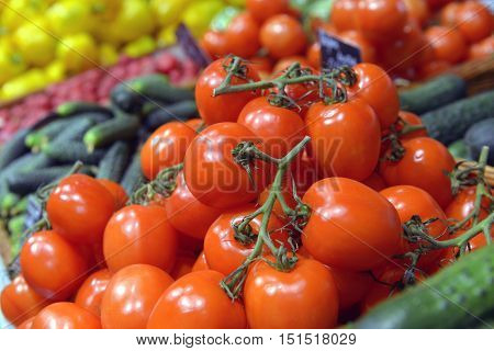 Tomatoes on display in a big supermarket