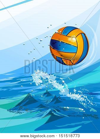 set of backgrounds to sports themes: water polo ball in a swimming pool