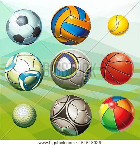 Soccer balls, volleyball, tennis ball, golf ball, basketball, children's ball