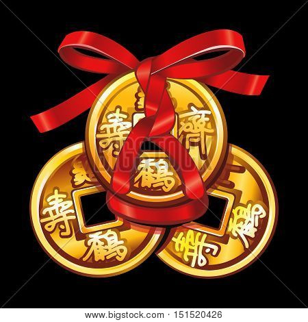 Vector Chinese coin tied with red ribbon. A square within a circle of ancient Chinese coins.  Set talismans Fung Shui.