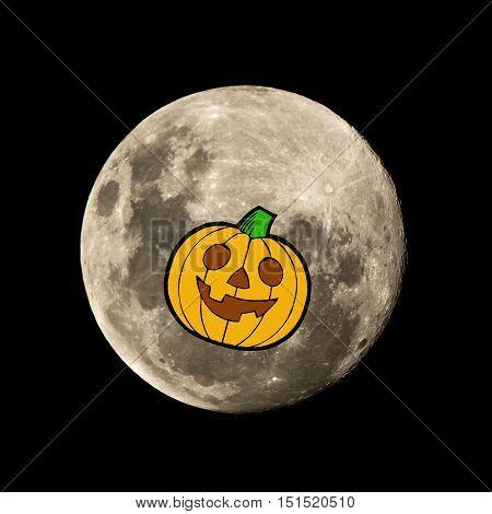 Pumpkin Witch Flies In The Moon