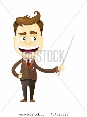 vector illustration of funny cartoon businessman presenting or showing something