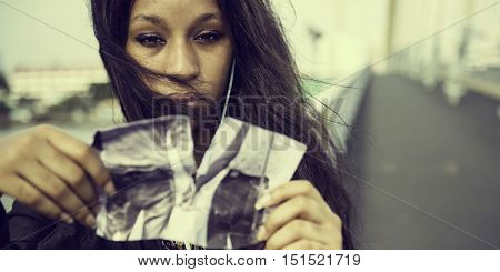 African Woman Sadness Listening Music Tearing Photo Breakup Concept