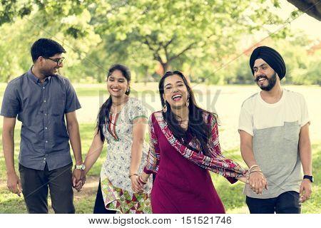 Indian Ethnicity Park Companionship Friend Concept
