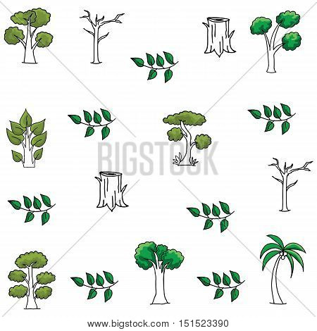 Vector art of tree doodles collection stock